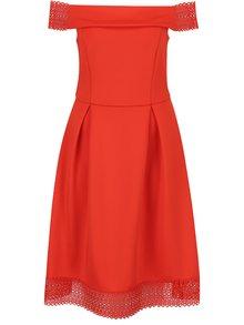 Červené šaty s odhalenými ramenami Dorothy Perkins