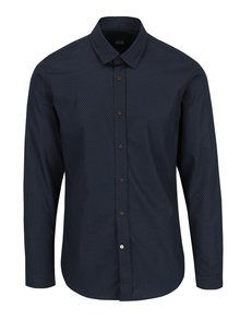 Tmavě modrá vzorovaná košile Bertoni Pelle