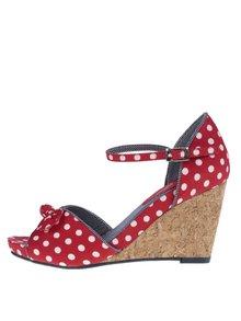 Červené bodkované sandálky na plnom podpätku Ruby Shoo Molly