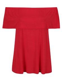 Červené tričko s odhalenými ramenami Dorothy Perkins Curve