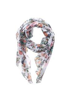 Bílý dámský květovaný šátek Pieces Siella