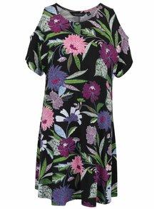 Čierne kvetované šaty s prestrihmi na ramenách Dorothy Perkins