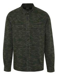 Zelená maskáčová džínová košile Burton Menswear London