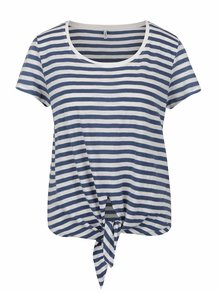 Bílo-modré pruhované žíhané tričko s uzlem ONLY Kasia