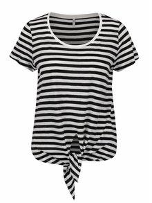 Bielo-čierne pruhované žíhané tričko s uzlom ONLY Kasia