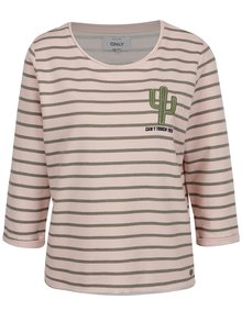 Bluză roz-verde ONLY Milan cu dungi