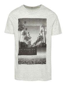 Krémové melírované tričko s potlačou Burton Menswear London
