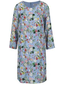 Modré kvetinové šaty s 3/4 rukávom Rich & Royal