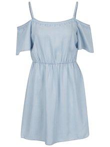 Modré šaty s odhalenými ramenami VERO MODA Zoe