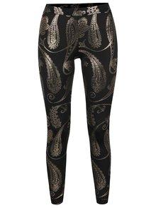 Čierne športové legíny so vzorom v zlatej farbe Mania fitness wear Oriental