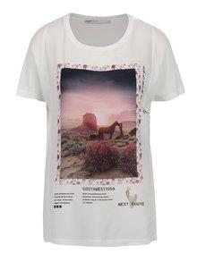 Krémové tričko s potiskem ONLY Storry Option II.