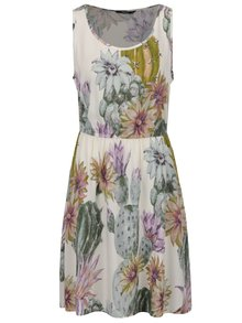 Krémové květované šaty bez rukávů ONLY Nova