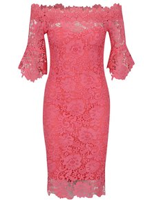 Růžové krajkové šaty s lodičkovým výstřihem Little Mistress