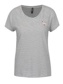 Krémové pruhované tričko s nášivkou ve tvaru plameňáka Haily´s Stella