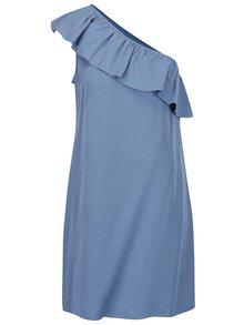 Rochie asimetrică albastră VILA Vita cu volănaș