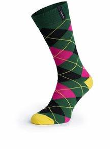 Čierno-zelené kárované unisex ponožky V páru