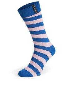 Modro-ružové pruhované unisex ponožky V páru