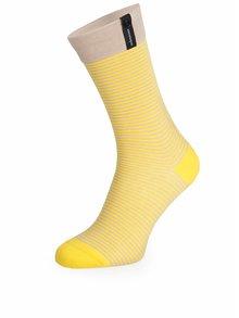 Šedo-žluté pruhované unisex ponožky V páru
