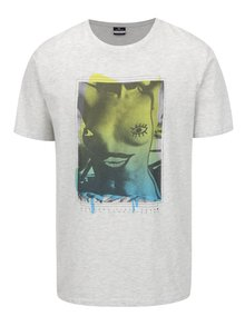 Světle šedé žíhané pánské triko s potiskem Rip Curl Boobies Tee