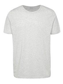 Světle šedé žíhané basic triko s krátkým rukávem Burton Menswear London