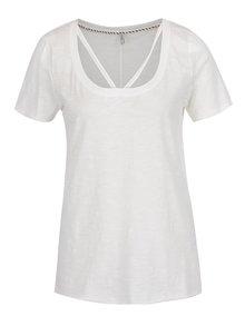 Krémové tričko s pásky v dekoltu ONLY Leah