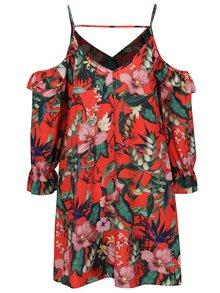 Oranžové květované šaty s odhalenými rameny Miss Selfridge