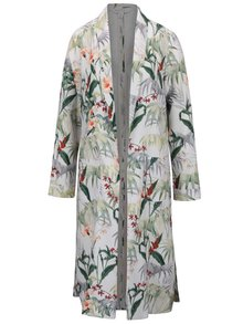 Jachetă subțire lungă crem Miss Selfridge cu model floral