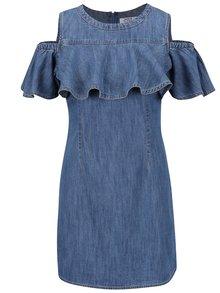 Modré džínové šaty s průstřihy na ramenou a volány Miss Selfridge