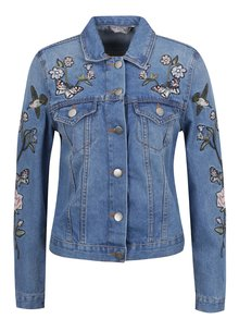 Modrá džínová bunda s výšivkami Dorothy Perkins