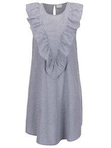 Bílo-modré volné pruhované šaty s volánem VILA Paira