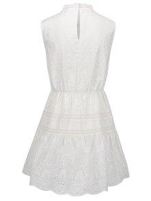 Krémové šaty s madeirou a čipkovanými detailmi VILA Davina