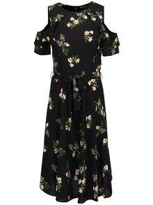 Čierne kvetinové šaty s prestrihmi na ramenách Dorothy Perkins