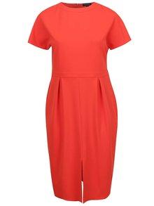 Červené pouzdrové šaty s rozparkem Dorothy Perkins Curve