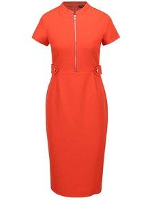 Červené šaty s ozdobným zipem Dorothy Perkins