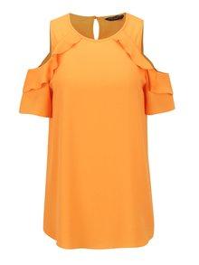 Oranžová voľná blúzka s prestrihmi na ramenách Dorothy Perkins
