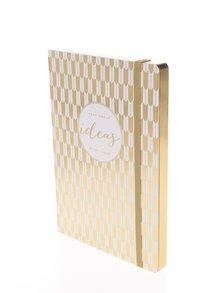 Vzorovaný linajkový zápisník v bielo-zlatej farbe Galison A5