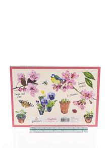 Sada samolepiacich poznámkových papierikov v ružovo-krémovej farbe s motívom kvetov Galison