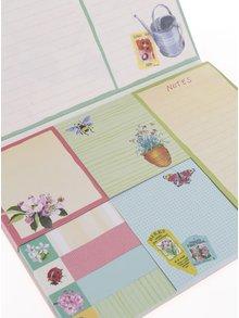 Sada samolepicích poznámkových papírků v růžovo-krémové barvě s motivem květin Galison