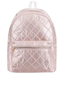 Světle růžový lesklý prošívaný batoh TALLY WEiJL