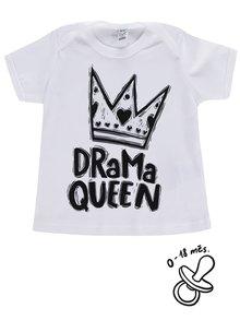 Biele dievčenské dojčenské tričko ZOOT Kids Drama queen