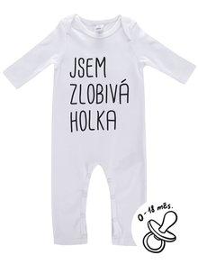 Bílý holčičí kojenecký overal ZOOT Kids Jsem zlobivá holka
