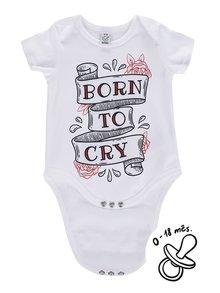 Biele detské body ZOOT Kids Born to cry