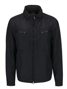 Čierna páska tenká bunda so skrytou kapucňou Geox