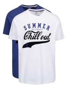 Set de 2 tricouri alb & albastru JP 1880 din bumbac cu print