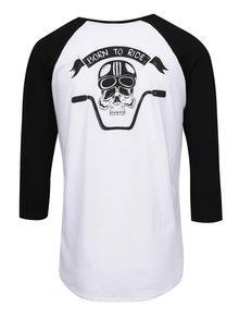 Čierno-biele pánske tričko s potlačou na chrbte ZOOT Originál Born to ride