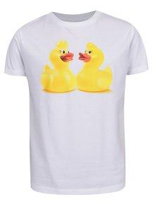 Biele detské tričko s potlačou kačičiek Cuky Luky film