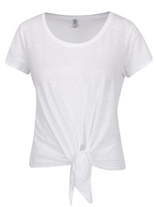 Tricou alb ONLY Kasia cu nod decorativ