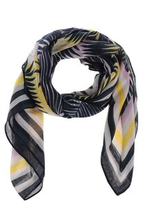 Žluto-modrý šátek s motivem listů Pieces Summer Bird