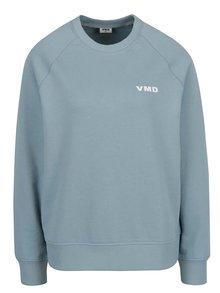 Bluză albastru deschis VERO MODA O-Neck din bumbac organic cu print