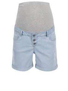 Pantaloni scurți albastru deschis din denim Mama.licious Scratch cu aplicație elastică